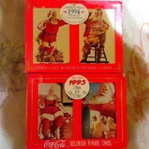 Vintage 94,95 Coca-Cola Santa playing cards in tin